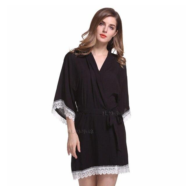 Sexy Spitze Frauen Nacht Kleid V ausschnitt Baumwolle Damen Kimono ...