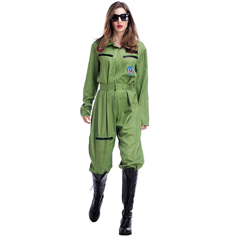 Femmes pilote uniformes Halloween Costume armée Airman aviateur combinaison vol Costume vert Air Force adulte femme Cosplay uniforme
