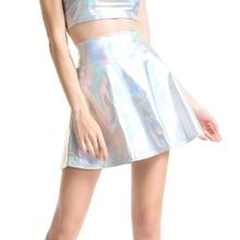 Юбки CUHAKCI с завышенной талией, Женская Повседневная мини юбка золотистого цвета, юбка из искусственной кожи, юбка фигуристки, плиссированная Женская юбка серебристого и черного цветов
