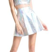 Cuhakciハイウエストスカートの女性のカジュアルミニゴールドスカートフェイクレザースカートスケータープリーツ女性シルバー黒スカートプラスサイズ