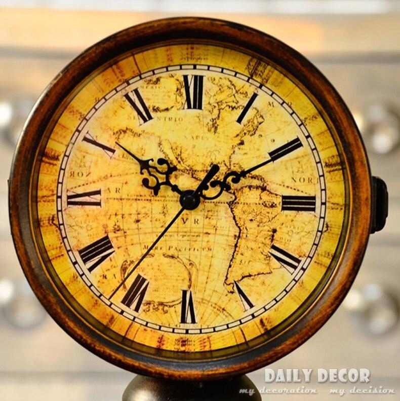 Hors-q vintage métal double face station horloges de bureau ancien support horloge bureau décoration grand-père horloge temps table horloge - 3