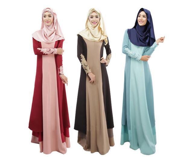 2016 горячая Весна Осень Платье Мусульманских Женщин Абая С Длинным Рукавом Турецкие Женской Одежды