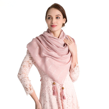 Fashion Cotton Linen Women Scarf With Tassels And Bead Design Lady Plaid Multi-purpose Spring Autumn Beach Shawls And Wraps fashionable women s wallet with colour block and tassels design