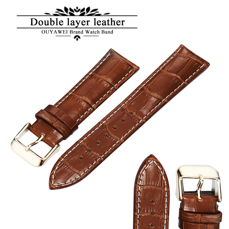 100% Genuine Leather Watch Band Strap 20mm 22mm 24mm Brown Black Woman Man Watchbands Watch Belts High Quality OUYAWEI 22mm 24mm black mens genuine leather watch strap band