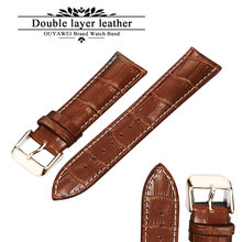 100% Genuine Leather Watch Band Strap 20mm 22mm 24mm Brown Black Woman Man Watchbands Watch Belts High Quality OUYAWEI(China)
