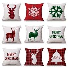 Рождественский клетчатый чехол для подушки с буквенным принтом, льняная хлопковая наволочка с оленем красного цвета для обеденного стула, наволочка для сна, подарок для путешествий