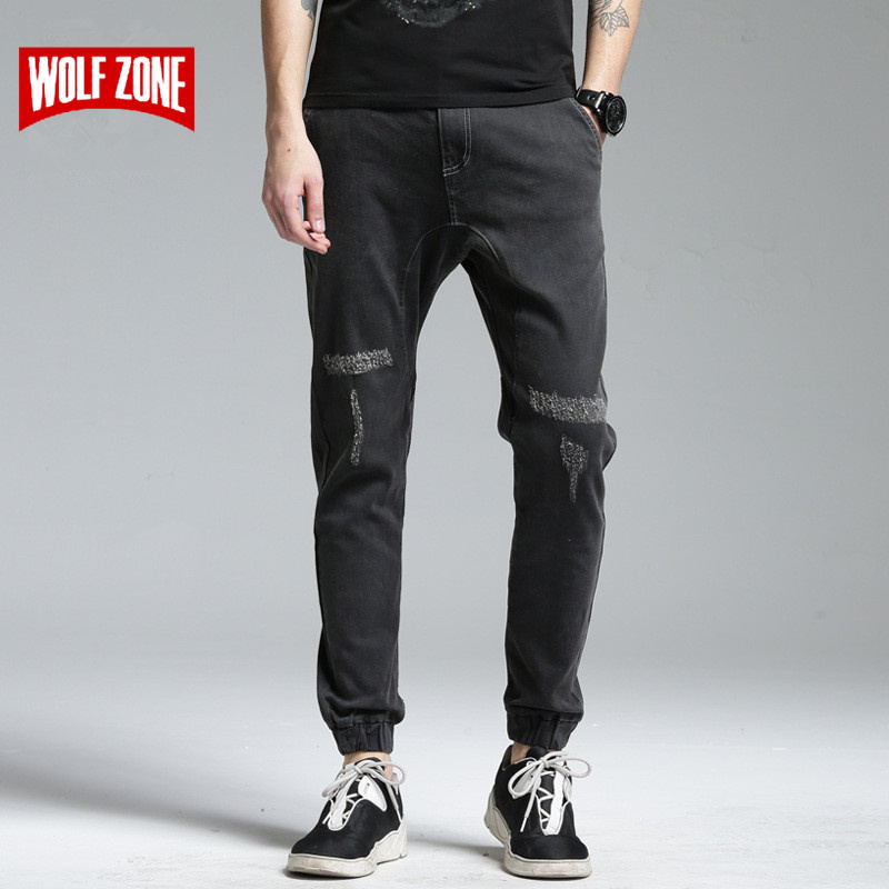Top Fashion Jeans Men Black High Stretch Denim Brand Trousers Mens Biker Distressed Mid Midweight Full Length Pencil Pants