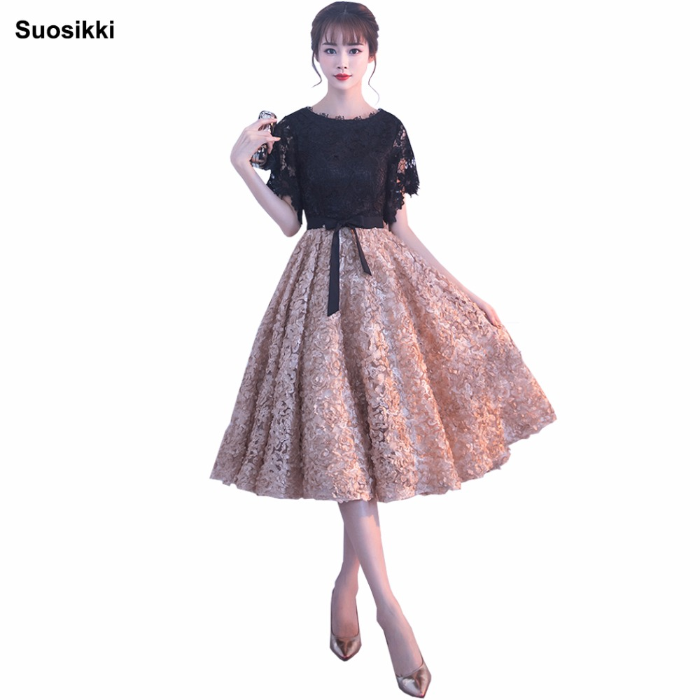 Suosikki 2018 New   Evening     Dress   Black With Khaki Color Lace Tea-Length Long Prom Party Gowns