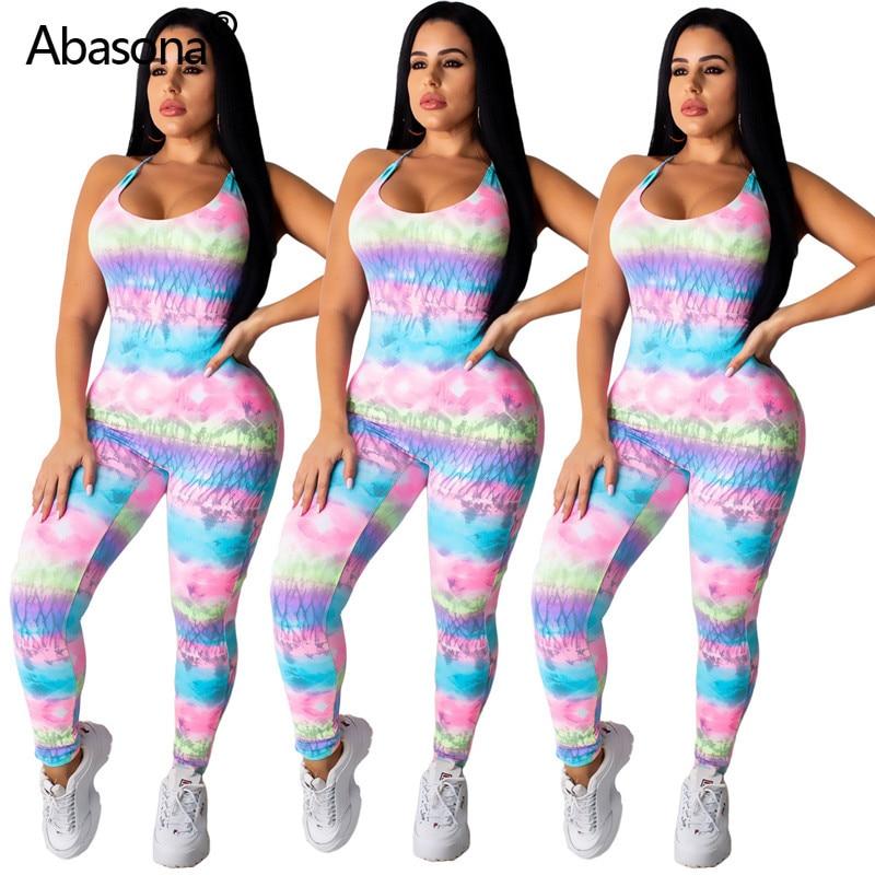 Abasona New Sleeveless Open Back Multi Color Tie Dye Print Tank Skinny Full Length Jumpsuit Fashion Sexy Beach Casual Bodysuit(China)