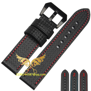 Carbon Fiber Watchband genuine leather Black red line 20mm 22mm 24MM 26MM black watch accessories bracelet watch strap band(China)