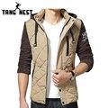 TANGNEST Капюшоном мужская Зима Теплая Куртка 2017 Новый Дизайн Азиатских размер M-3XL 3 Цвета Лоскутное Плед Slim Fit Пальто MWM1505