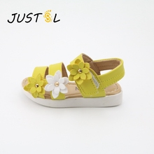 JUSTSL девушка сандалии Лето Новые детские сандалии три цветка римская обувь для принцессы сандалии