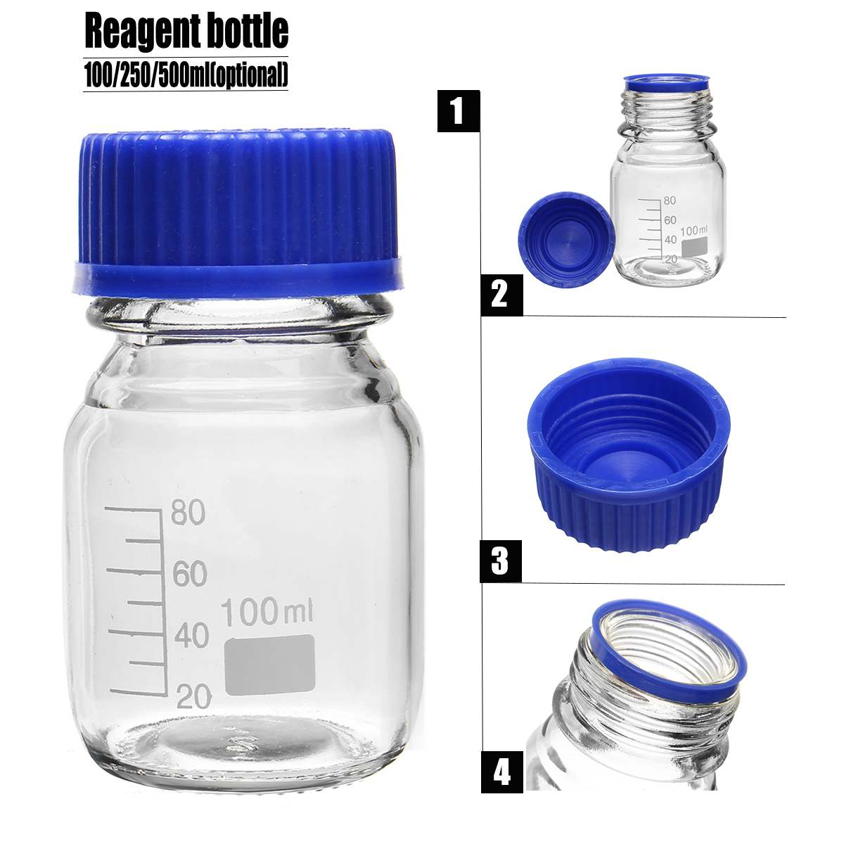 4pcs Glass Reagent Bottle With Blue Screw Cover Cap 100ml Graduation Sample Vials Plastic Lid School Supplies Lab Equipments