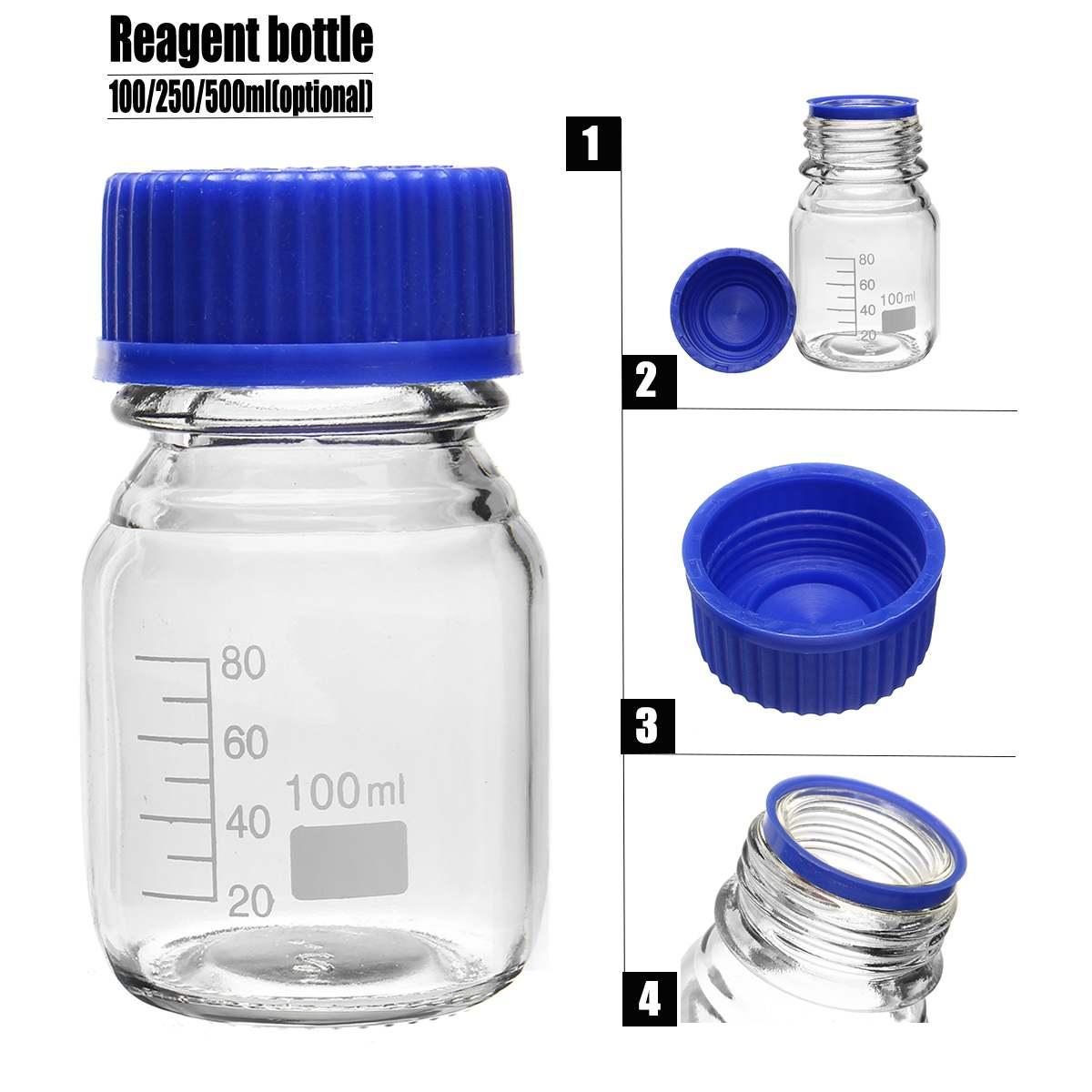 Botella de reactivo de vidrio 4 Uds con tapa de rosca azul 100 ml, frascos de muestra de graduación, tapa de plástico, suministros escolares, equipos de laboratorio