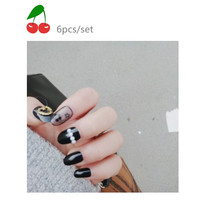 The new Restore ancient ways round head black orb sexy flower nail product false nails patch 24 pieces of glue