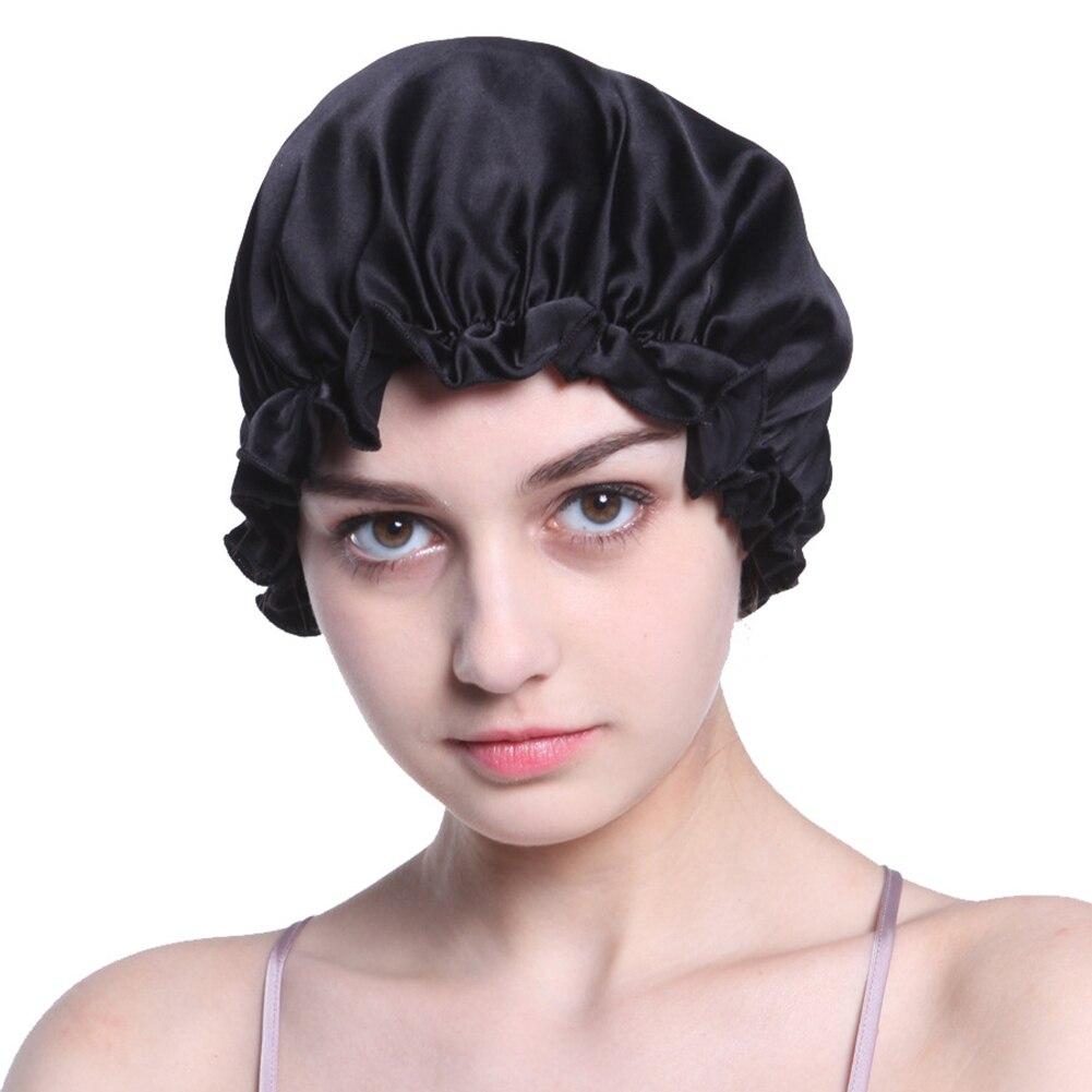 Women Hair Care Wrap Night Cap Hats Silk Elastic Ribbon Cover Bonnet Salon Sleep