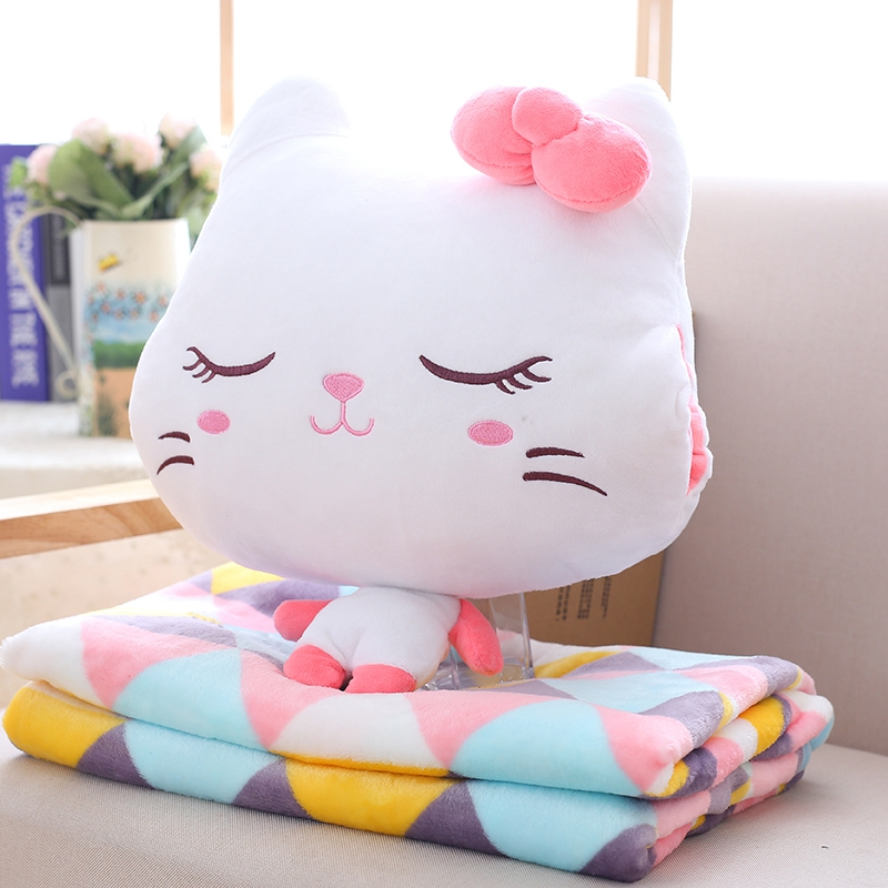 Kawaii Emoji Cat Plush Toy and Blanket Staffed Animal Cat Pillow Soft Cushion Lovely Gift Doll for Kids Children Baby Christmas