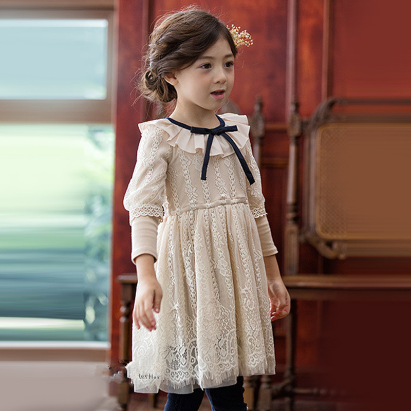 Girls Lace Dress Pink Ivory Color Cute Sweet Frock Design Birthday Party Clothes for Teens Kids Age 56789 10 11 12T Years Old 2017 autumn girls blouse ruffle hem flare sleeves blue striped letter design for teens at age 56789 10 11 12 13 14t years old