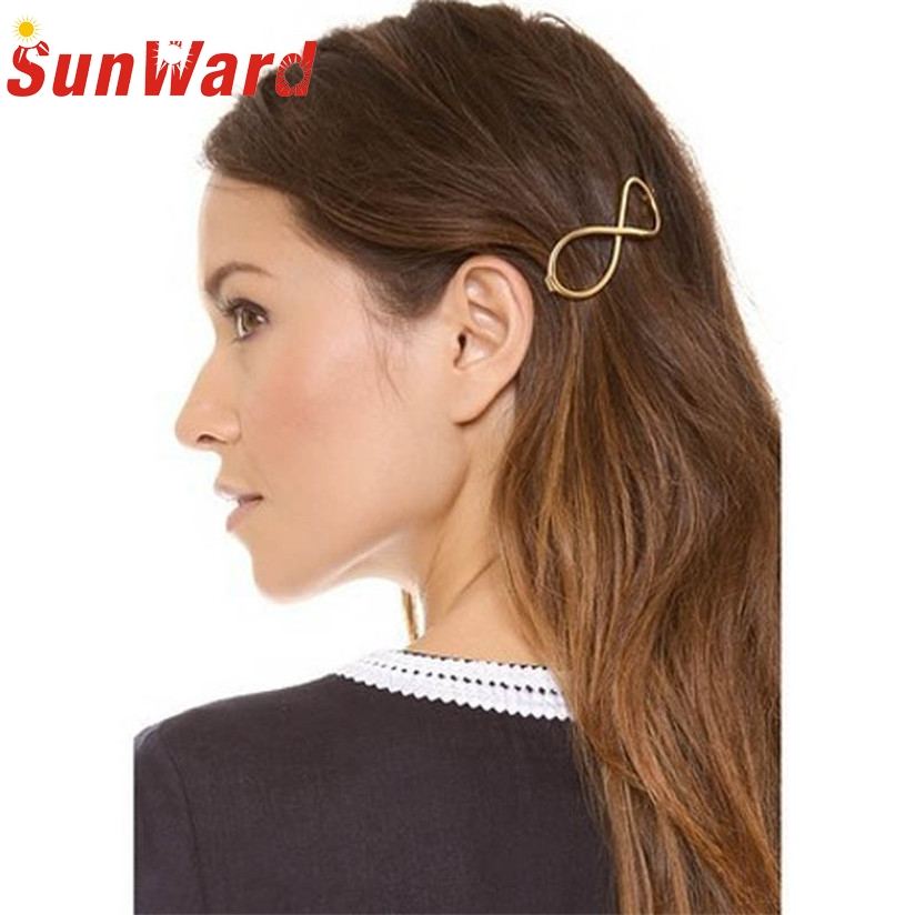 Hot Marketing Fashion Women Positive Infinity Gold Barrette Hairpin Hair Clip Headband L20 Drop Shipping marketing