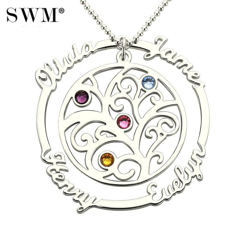 Arbre généalogique collier nom personnalisé pierres de naissance pendentifs argent 925 chaîne Vintage colliers bijoux pour maman grand-mère