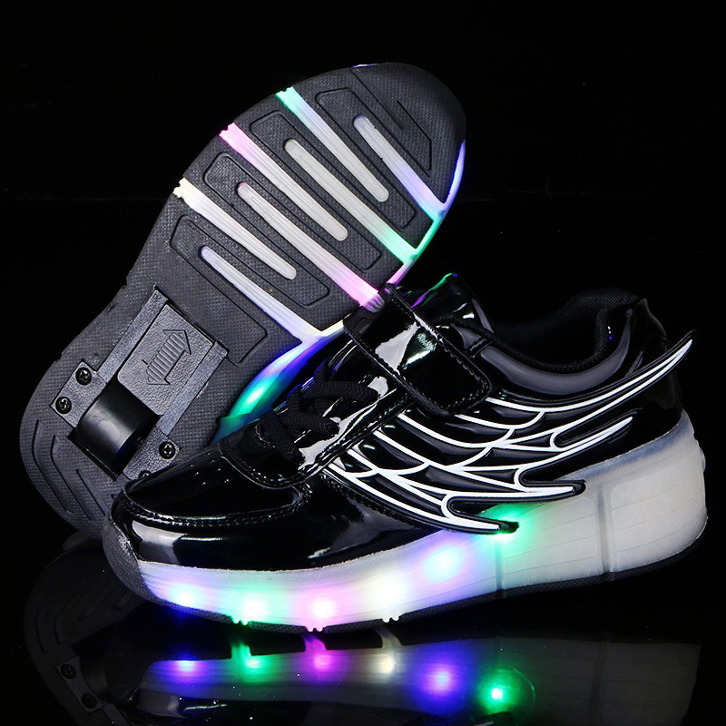 Children Casual Heelys Shoes Boys & Girls Patent Leather Sport Shoes Kids Sneakers Fashion LED Lighted Roler Skates With Wings