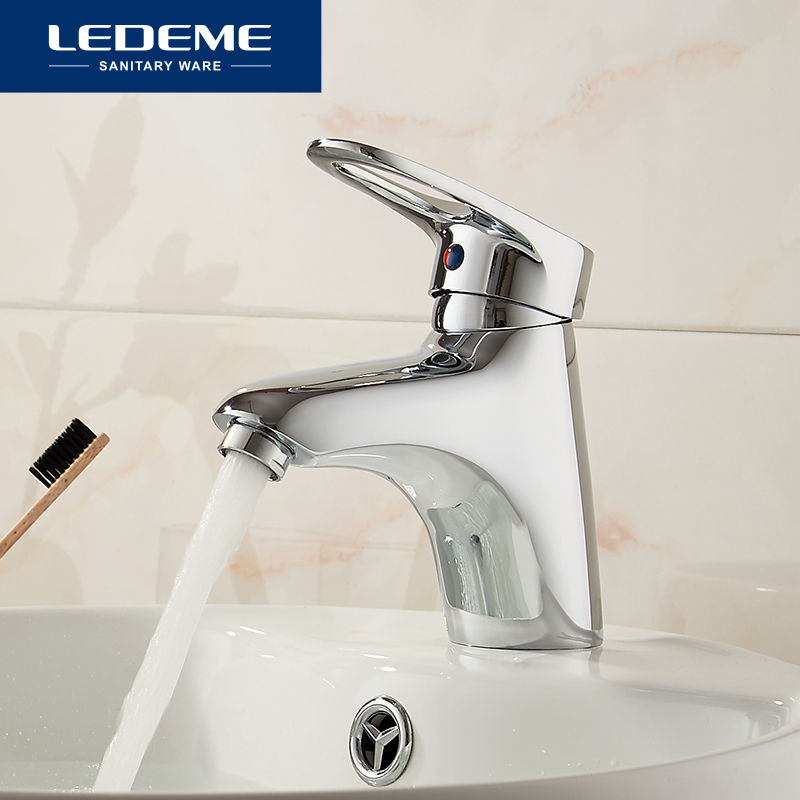 LEDEME Basin Faucet Water Tap Bathroom Faucet Solid Black Red Brass Chrome Gold Finish Single Handle