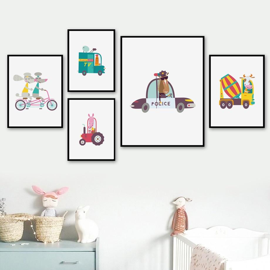 Cartoon Animal Elephant Tiger Canvas Art Poster Prints Children Room Decoration