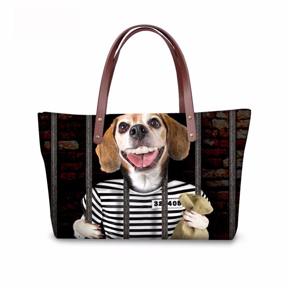 Noisydesigns funny dog Pattern Shoulder Bag Big gorjuss bag Women Hand Bag Beach Totes Travel Tote Sac a main Wholesale