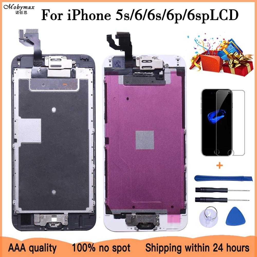 Aaa + + + conjunto completo para iphone 6 s plus lcd com câmera botão casa completa substituição da tela montagem garantia de exibição