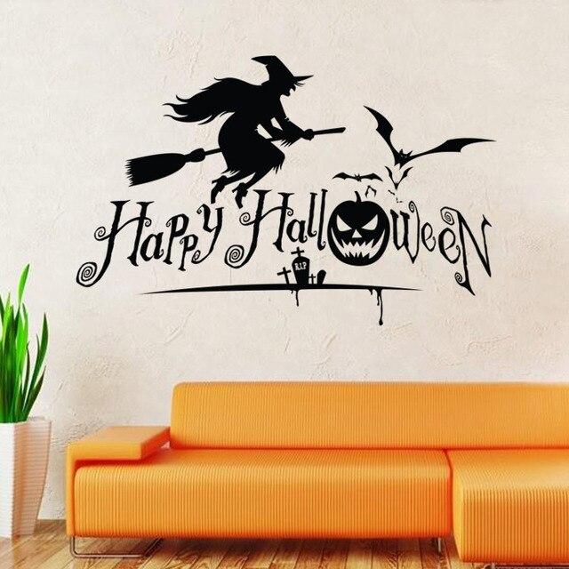 Hy Wall Sticker Witch Bat Pumpkin Crow Black Stickers Children S Room Backdrop Custom Removable Waterproof