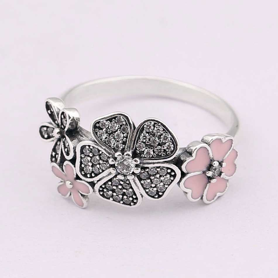 Authentic 925 Sterling Silver Ring Shimmering Bouquet Statement With Crystal Rings For Women Wedding Gift Fine Pandora Jewelry
