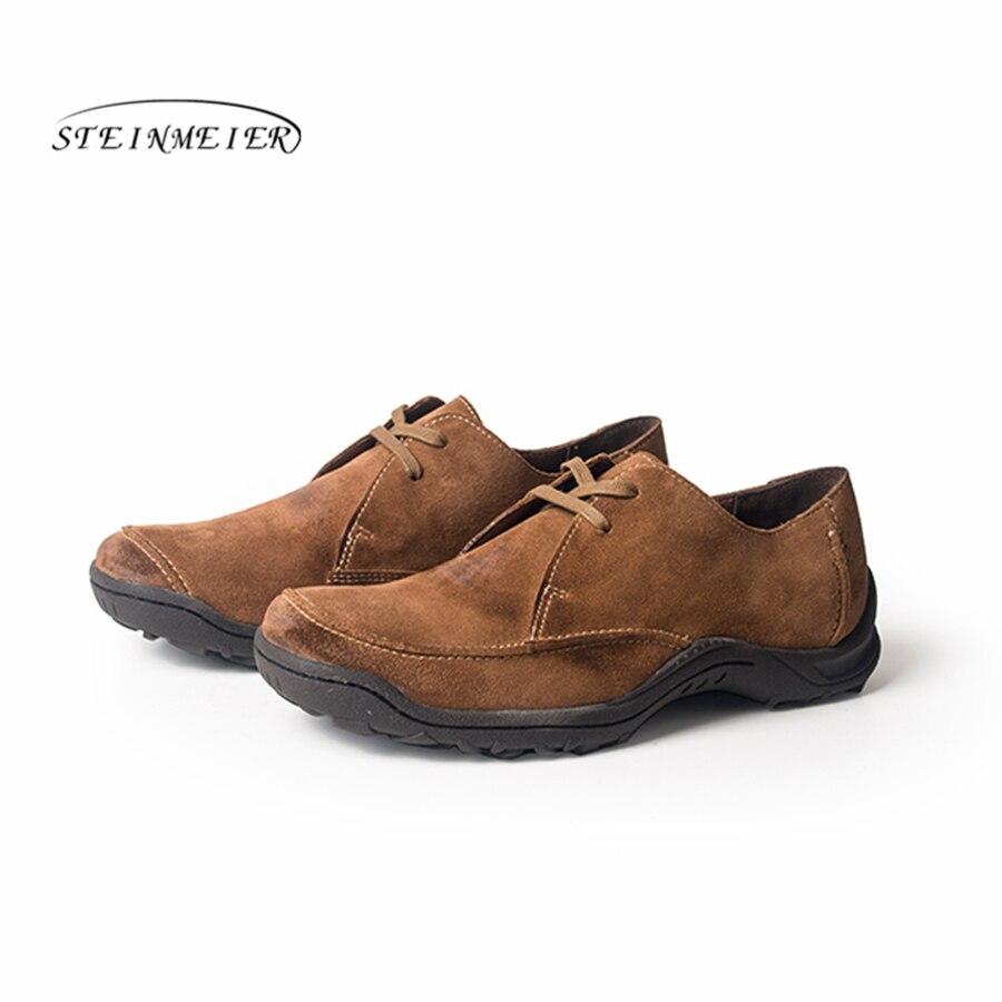 De Genuíno Do Flats 100 Khaki light brown Sapatos Oxford Mão Casuais À Couro Homens Gray Cinza Camurça Brogue Para Vintage Feitos Vaca Tênis gwxd7qAx