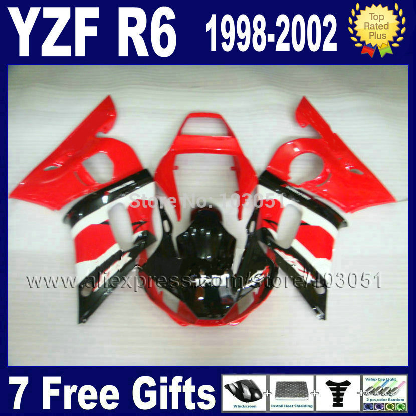Custom Road fairing set for YAMAHA 1998 YZF R6 1999 2000 2001 2002 red black YZF600 YZFR6 98 99 00 01 02  body repair Fairings