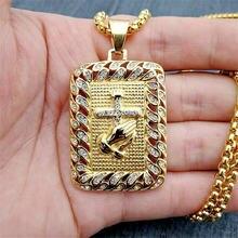 Религиозная квадратная Молитва Руки крест кулон ожерелье для
