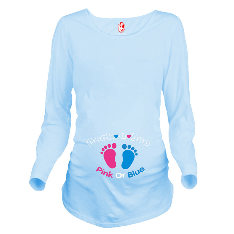 Funny maternity tops print footprints long sleeve pregnancy shirts clothes for pregnant women 5 colors spring pregnancy t-shirts цена