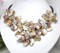 Women Classic Jewelry Natural Pearl Crystal 5 Flower Pendant Brown Coffee Shell Mother Of Pearl Necklace