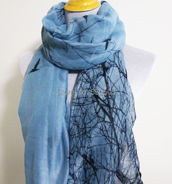 2015 animal printed scarf blue color birds scarf shawl flower floral stole
