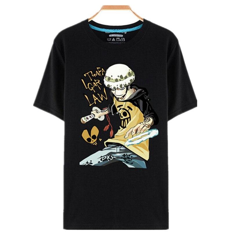 Vestito di un Pezzo T Shirt Rufy Cappello di Paglia Anime Giapponese T  Camicette O Collo T Shirt Nera Per Gli Uomini Anime Disegno di Un Pezzo  camisetas t ... d401806d80a5
