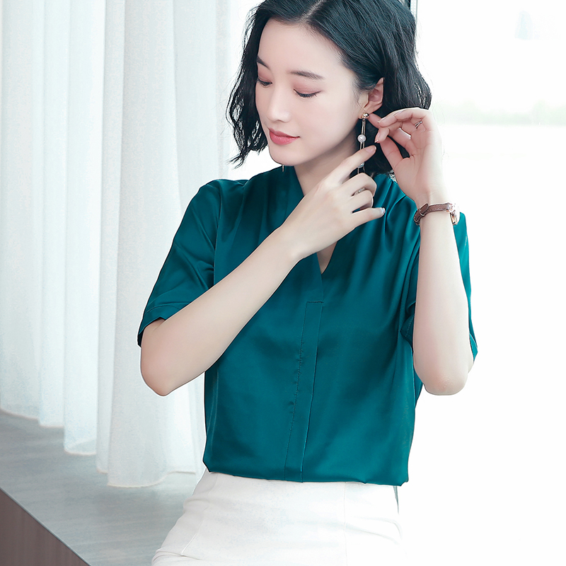Korean Fashion Silk Womens Tops and Blouses Satin Short Sleeve Pink Women Shirts Plus Size XXXL Blusas Femininas Elegante