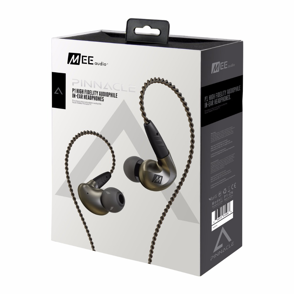 Authentic MEE Audio MEElectronics Pinnacle P1 High Fidelity Audiophile In-Ear earphones with Detachable Cables for ios LG phone стоимость