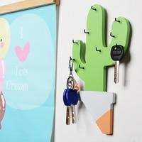 Креативный деревянный держатель для ключей в форме кактуса, настенные крючки для дома, декоративный минималистичный Para Colgar Las Llaves, домашние ...