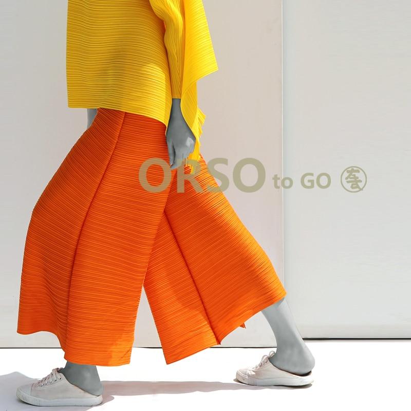 Azterumi Pleats Spring Summer New 2019 Women Casual Loose Wide Leg Pants Women Elastic Waist Pleated