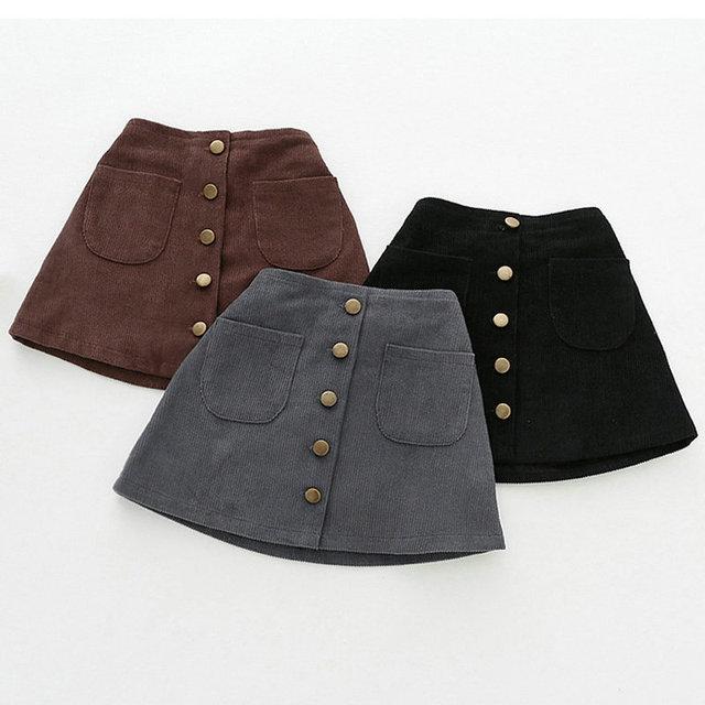 1d8d572fa Bebé niños niñas de pana faldas botones Otoño Invierno elástico en la  cintura de la falda
