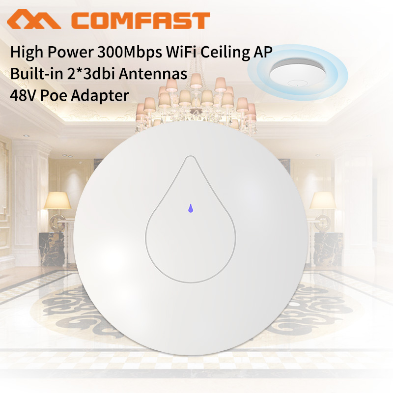 COMFAST 300Mbps Indoor AP 802.11b/g/n WiFi Repeater, 300m2 WiFi Coverage for 60Users 48V Poe Ceiling Wireless WiFi Access Point lafalink pw300s48c 300mbps 2 4g wireless inwall poe access point 48v wifi extender