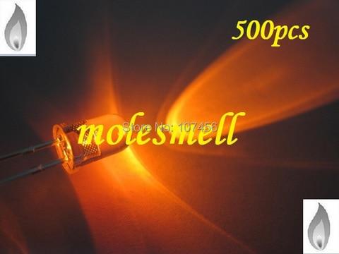 Frete Grátis Laranja Vela Luz Cintilação Ultra Brilhante Led Leds 5mm Água Clara 500x5mm