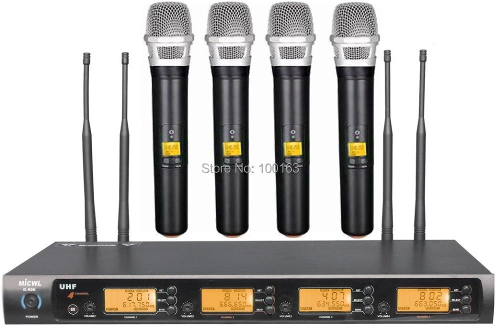 uhf g900 series black 4 handheld wireless microphone system 400 channel wireless microphone. Black Bedroom Furniture Sets. Home Design Ideas