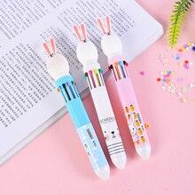 10 Colors Cute Rabbit Cartoon Ballpoint Pen School Office Supply Stationery Papelaria Escolar Funny Colorful Refill Pens