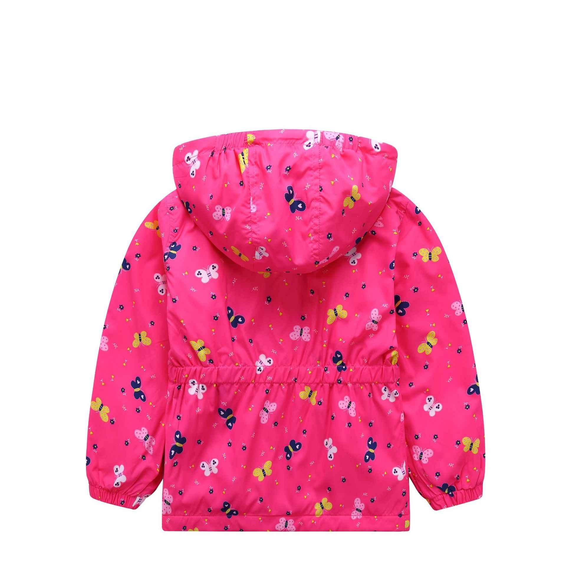 Hssczl для девочек куртка бабочка 2019 Весенняя Новинка для девочек, ветрозащитная и водонепроницаемая куртка с капюшоном детские пальто куртка для детей, мальчишеские костюмы для выступлений, ветровка с зауженной талией