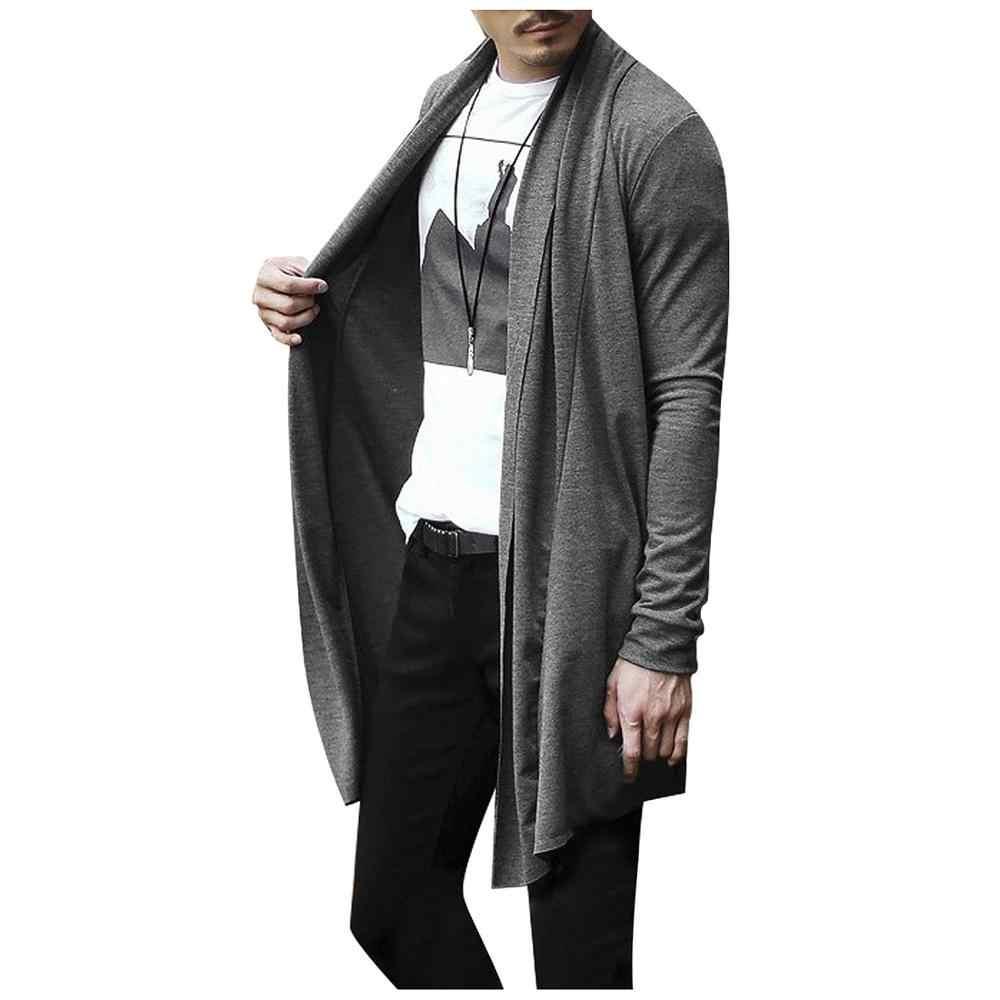 Cardigans cárdigan largo de manga larga de punto negro gris sólido delgado con bolsillos Decration Cardigans suéter