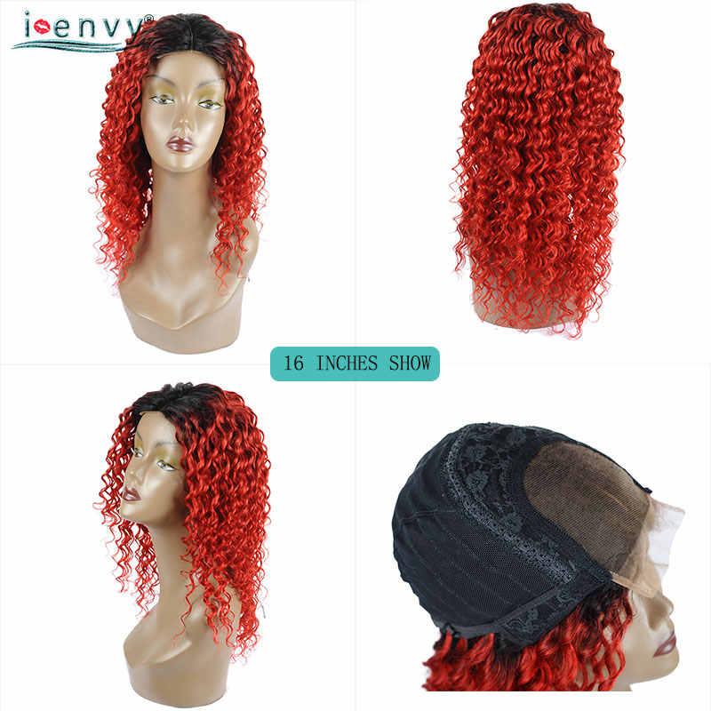Глубокий волнистый кружевной передний парик с Омбре, красный бразильский кудрявый парик, черный женский медовый блонд, кружевной передний парик, не линяет, не Реми